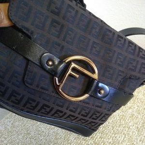 Fendi Bags - Fendi Black/Brown Signature Jacquard Bag